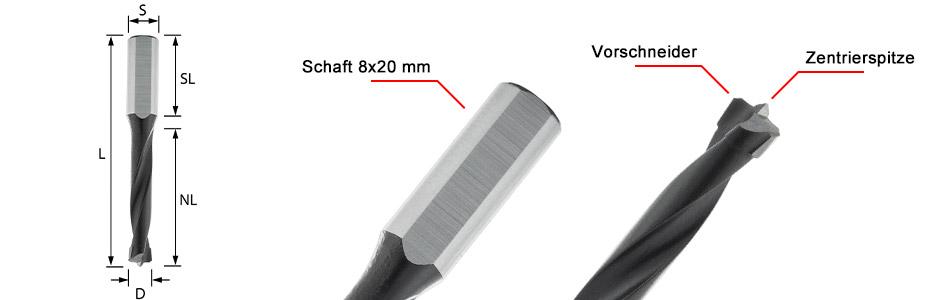 ENT Dübelbohrer Bit für DuoDübler DDF40 Mafell - Durchmesser 4, 5, 6, 8, 10, 12, 14, 16 mm