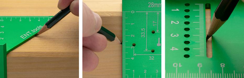 ENT 3D-Gehrungsschablone 45 90 Winkel Tischlerlineal streichmaß