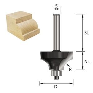 ENT Viertelstabfräser HW mit Kugellager S6x32 Z2 R6 Ø24,7x12,7mm