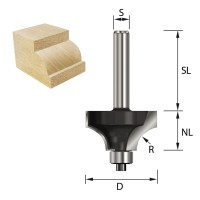 ENT Viertelstabfräser HW mit Kugellager S12x40 Z2 R6 D24,7x12,7mm