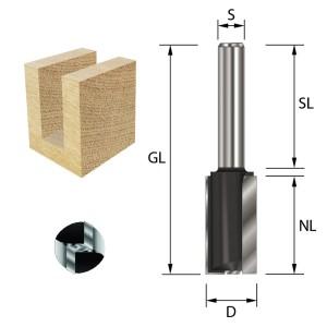 ENT Nutfräser HW S8x32 Z2+1 D12x20 mm GL 52 mm mit HW Grundschneide