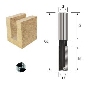 ENT Nutfräser HW S12x40 Z2+1 D16x50 mm GL 90 mm mit...