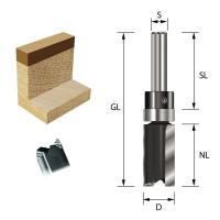 ENT Bündigfräser HW S8x32 Z2 D19x25 mm GL63 mm mit Kugellager am Schaft