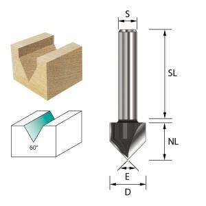 ENT V-Nutfräser und Schriftenfräser HW (HM) S8x32 Z2 90° D12,7x12,7mm