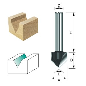 ENT V-Nutfräser und Schriftenfräser HW (HM) S8x32 Z2 90° D15,9x12,7mm
