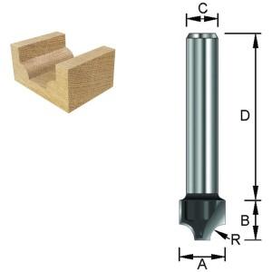 ENT Viertelstabfräser HW (HM) S8x32 Z2 R4 D19x11mm