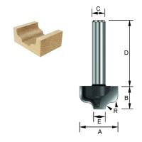 ENT Karnisnutenfräser HW (HM), Schaft (C) 12 mm, Durchmesser (A) 12,7 - 19,05 mm