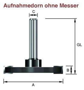 ENT Aufnahmedorn S8 mm für Nutmesser mit...