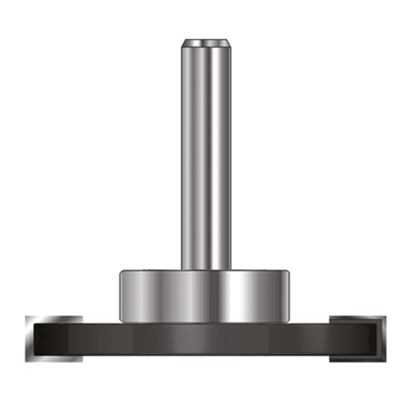 ENT Scheibennutfräser HW (HM) mit KL D19mm S8 D40xB4 GL54mm auf Spindel montiert