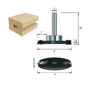 ENT Scheibennutfräser HW (HM) mit KL D19mm S8 D40xB5 GL54mm auf Spindel montiert