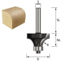 ENT Abrundfräser HW mit Kugellager S12x40 R6 D24,7x12,7mm