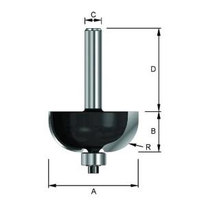 ENT Hohlkehlfräser HW (HM) mit Kugellager S6x32 Z2 R6 D21,5x9,5mm