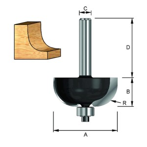 ENT Hohlkehlfräser HW (HM) mit Kugellager S12x40 Z2 R3 D15,5x9,5 mm