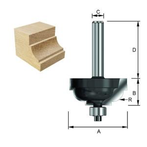 ENT Cavettofräser HW (HM) mit Kugellager S12x40 Z2 R6,35 D25,6x14,3mm