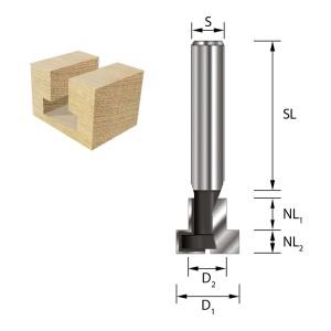 ENT T-Nutfräser HW (HM) S8x32 (D1) 12,7 (D2) 6,35...