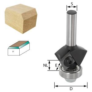 ENT Wendeplatten-Fasefräser HW S8 Z2 Winkel 30° D29x12mm mit Kugellager