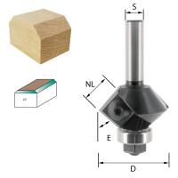 ENT Wendeplatten-Fasefräser HW S8 Z2 Winkel 45° D32x12mm mit Kugellager