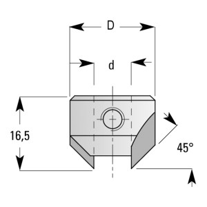 ENT Aufsteckversenker HW (HM) d8xD18mm Winkel 45° rechts