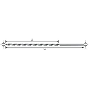 ENT Schlangenbohrer 6mm - NL165 GL235mm zyl. Schaft
