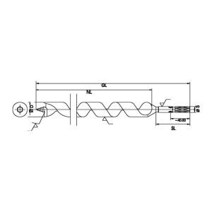 """ENT Schlangenbohrer 7mm - NL250 GL320mm S7mm und S1/4"""" 6-kant"""