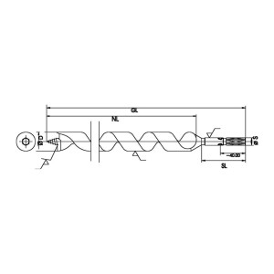 """ENT Schlangenbohrer 7mm - NL390 GL460mm S7mm und S1/4"""" 6-kant"""