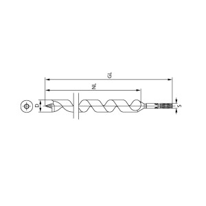 ENT Schlangenbohrer 17mm - NL390 GL460 S12mm 6-kant