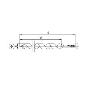 ENT Schlangenbohrer 18mm - NL165 GL235 S12mm 6-kant