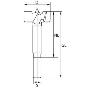 ENT Forstnerbohrer Premium HSS 16mm - NL60 GL90 S8mm
