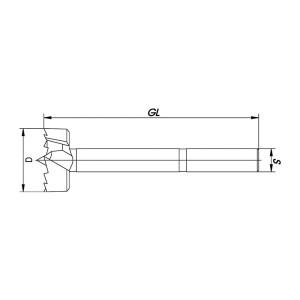 ENT Spur Bit 20mm - NL70 GL130 S12,7 - 3 Flächen