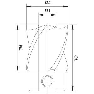 ENT Aufsteck-Stufensenker HSS 12/45mm - NL25 GL38mm
