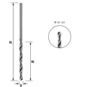 ENT HSS-G Holzspiralbohrer 2,0 mm in der 5er Packung...