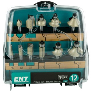 ENT PLUS 12-tlg. HW Fräser-Set in Kunststoffkassette- Schaft Ø 8 mm